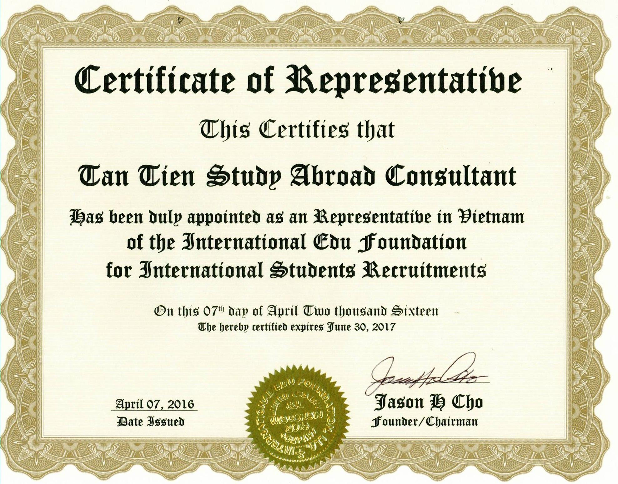 Certificate of Representable - Du học Tân Tiến