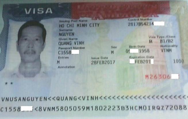 Chúc mừng chú Vinh đậu visa du lịch Mỹ 2017