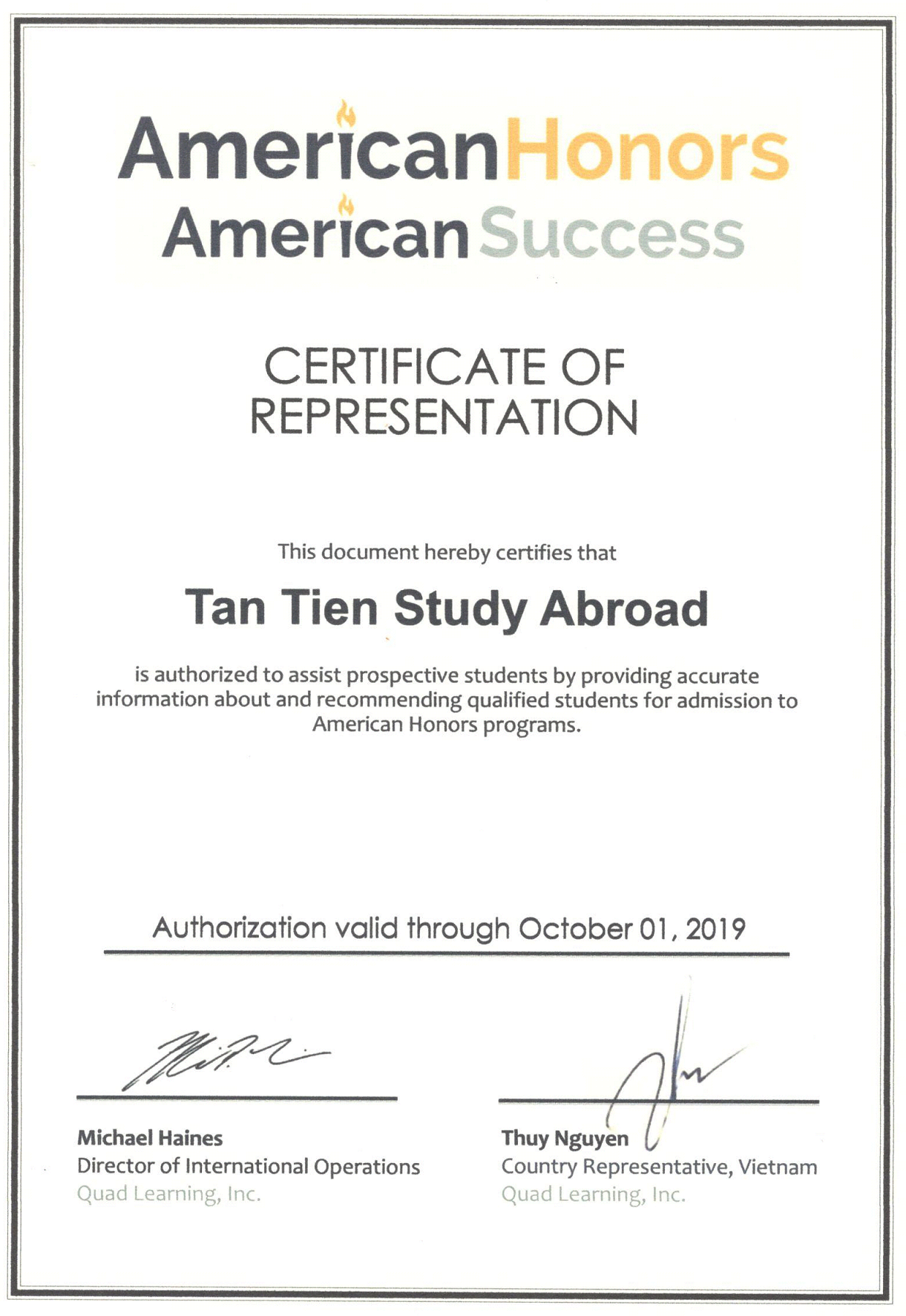 Chứng nhận công ty tuyển sinh du học uy tín - AmericanHonors