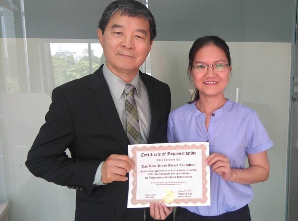 Chứng nhận đại diện tuyển sinh tại Việt Nam - Công ty du học Tân Tiến