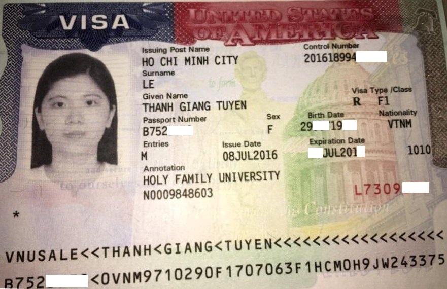 Gia hạn visa du học Mỹ thành công - Học sinh Tuyền