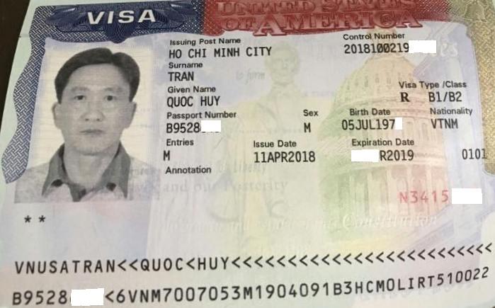 Visa du lịch Mỹ 2018 - Vũ Đức Huy
